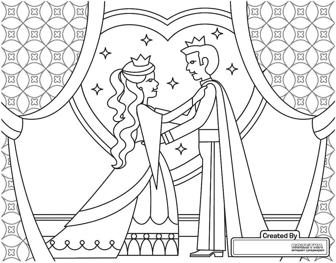 Раскраска Королевская свадьба Скачать Свадьба, платье, жених, невеста.  Распечатать ,Свадьба,