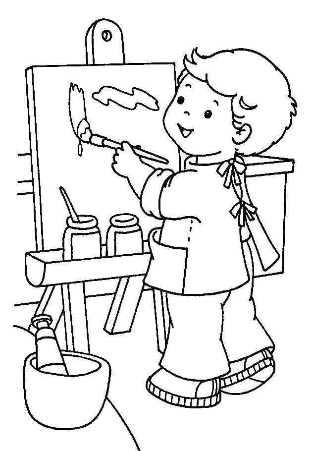 Раскраска Мальчик и мольберт Скачать мальчик, мольберт, краски, кисти.  Распечатать ,Хобби увлечения,