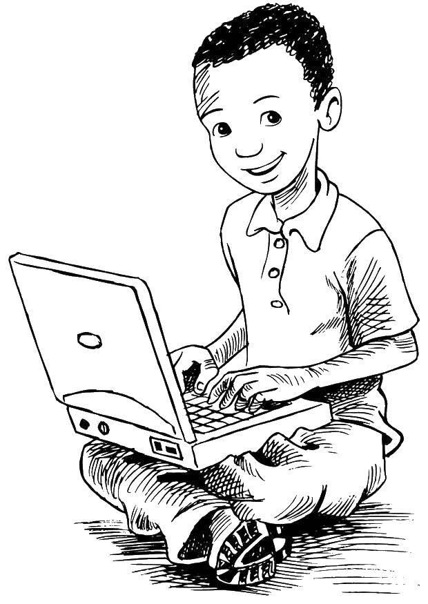 Раскраска Мальчик работает за компьютером Скачать Техника.  Распечатать ,раскраски,