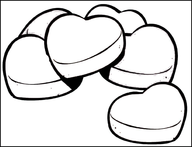 Раскраска Печенья в форме сердечек. Скачать День Святого Валентина, любовь, сердце.  Распечатать ,день святого валентина,