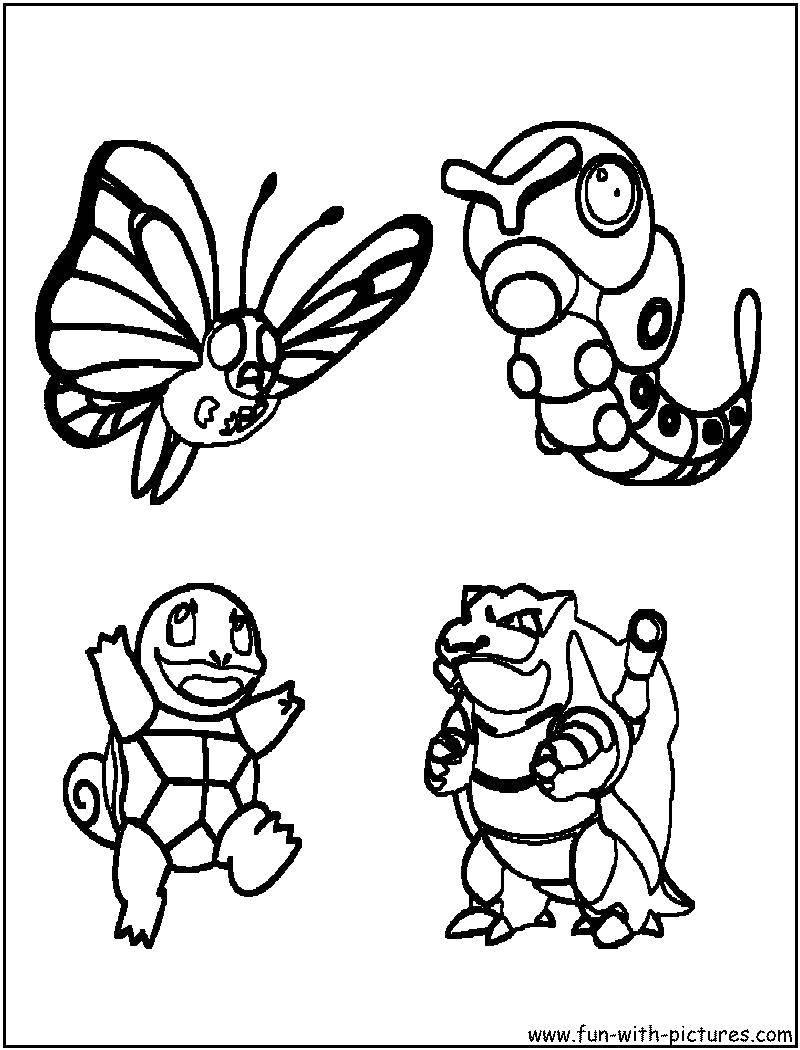 Раскраска Разные покемоны Скачать гусеница, бабочка, покемоны.  Распечатать ,Покемоны,