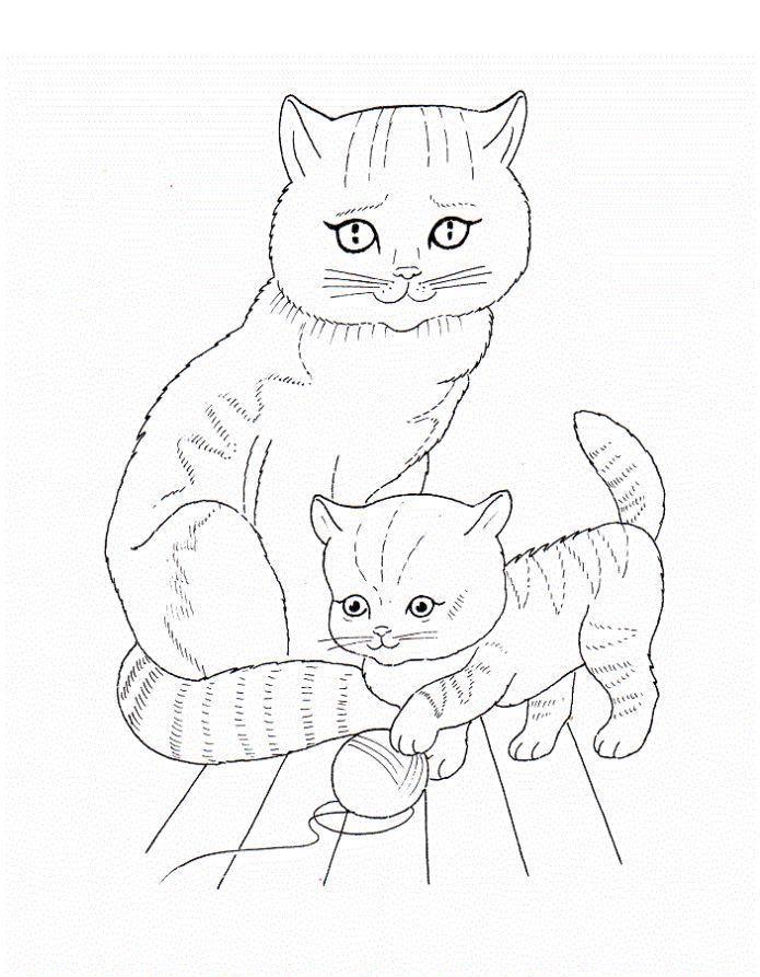 Раскраска Рисунок мамы  кошки и котенка Скачать кошка, кот.  Распечатать ,домашние животные,