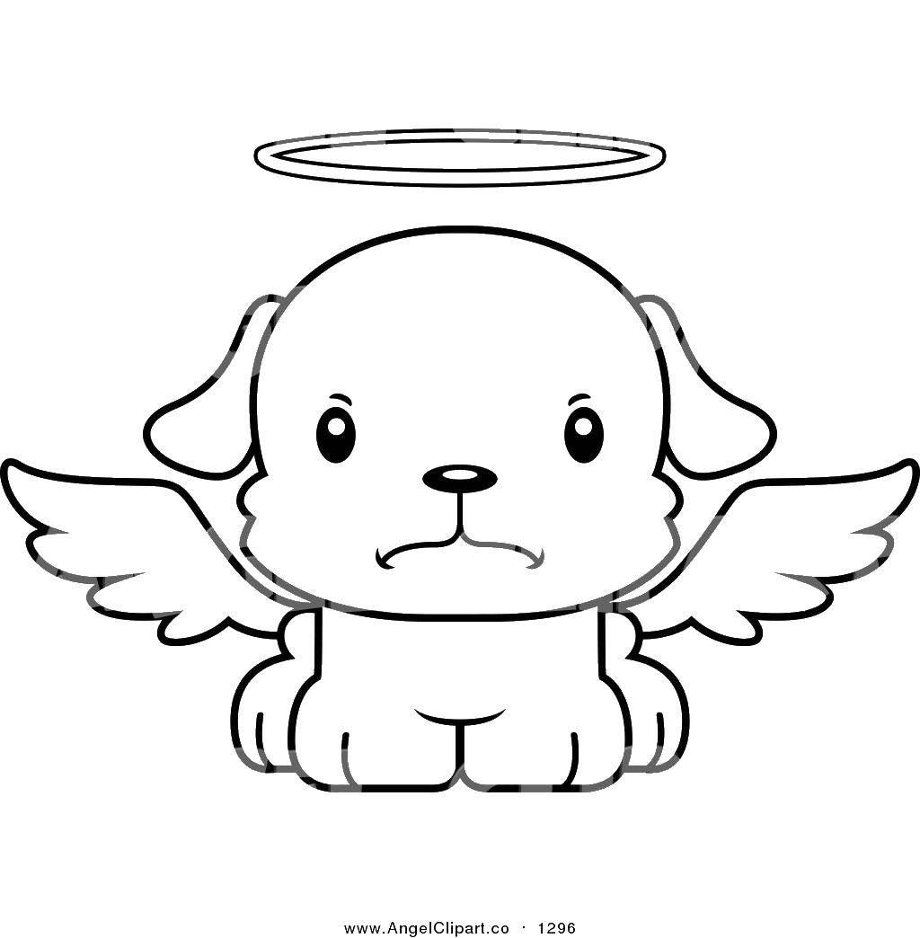 Раскраска Собачка ангел Скачать Ангел.  Распечатать ,Контуры ангела для вырезания,