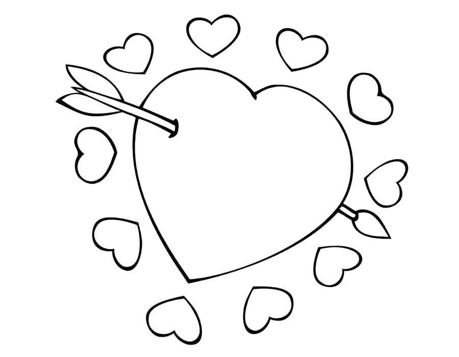 Раскраска Стрела проткнула сердце Скачать День Святого Валентина, любовь, сердце.  Распечатать ,день святого валентина,