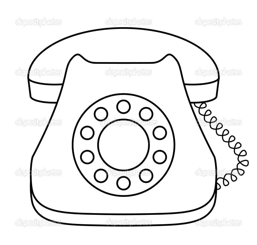 Раскраска Телефон с проводом Скачать ,телефон, трубка, шнур,.  Распечатать
