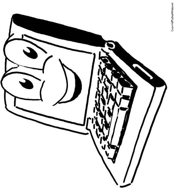 Раскраска Весёлый ноутбук Скачать Техника.  Распечатать ,раскраски,