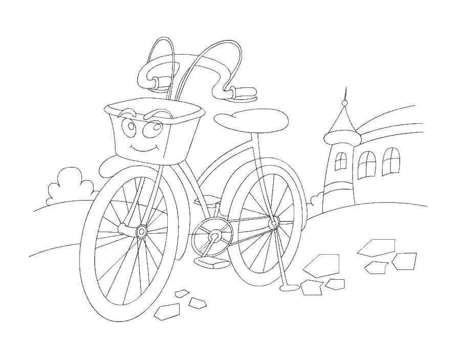 Название: Раскраска Велосипед и корзина. Категория: раскраски. Теги: велосипед, колеса, корзина.