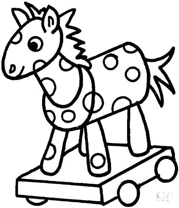 Раскраска Деревянная лошадка Скачать лошадка, круги, игрушка.  Распечатать ,игрушка,