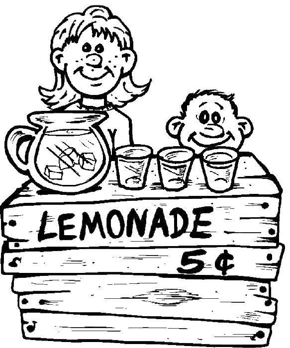 Раскраска Дети продают лимонад Скачать Дети, игра, лимонад, веселье.  Распечатать ,дети,