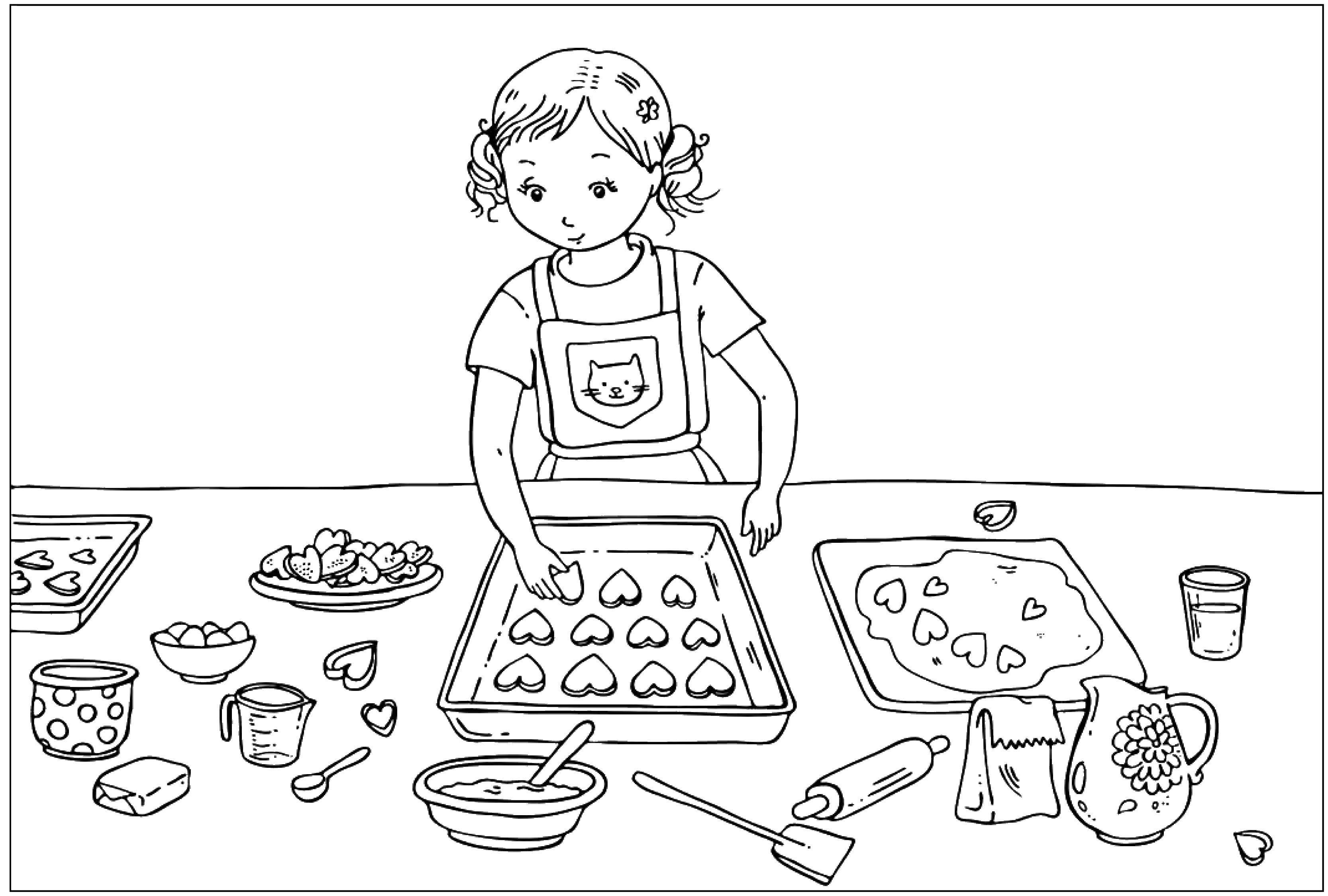 Раскраска Девочка готовит печенья в форме сердечек. Скачать День Святого Валентина, любовь, печенье.  Распечатать ,день святого валентина,