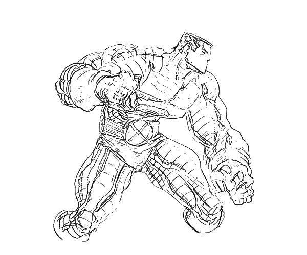 Раскраска Халк в костюме Скачать ,халк, мускулы, шорты,.  Распечатать