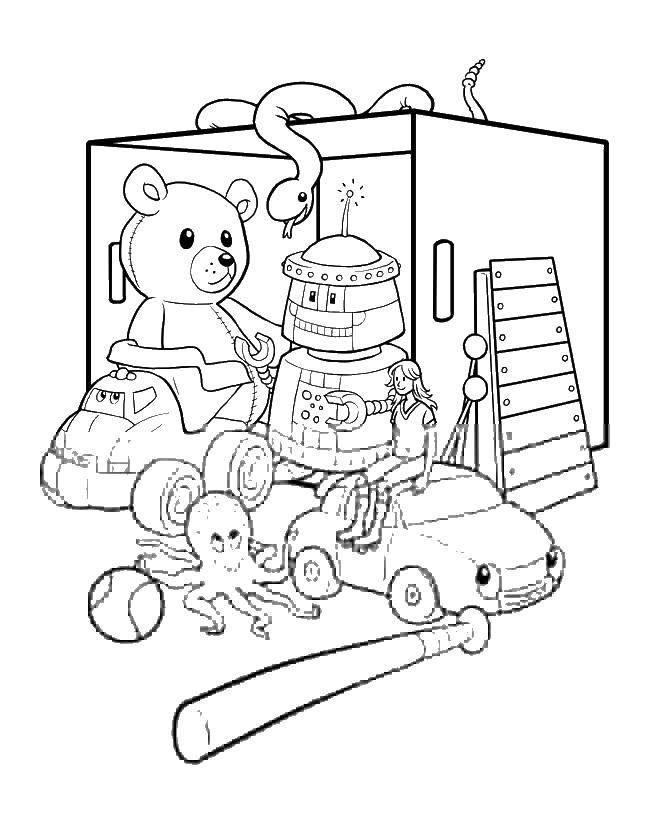 Раскраска Коробка с игрушками. Скачать игрушки, бита, машина, мишка, робот.  Распечатать ,игрушки,