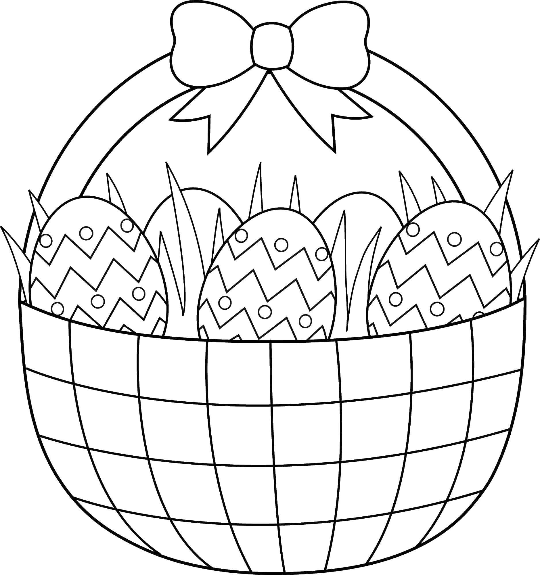 Раскраска Корзина яиц с бантом. Скачать корзина, яйца, бантик.  Распечатать ,Узоры для раскрашивания яиц,
