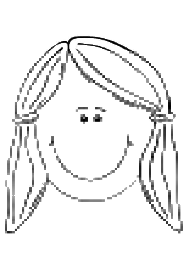 Раскраска Лицо девочки. Скачать девочка, лицо, хвостики.  Распечатать ,Лицо,
