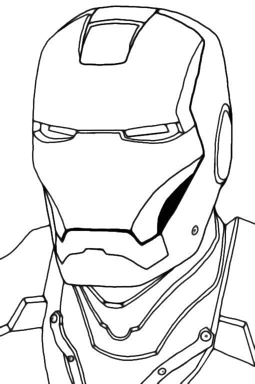 Раскраска Лицо железного человека Скачать железный человек, маска.  Распечатать ,супергерои,