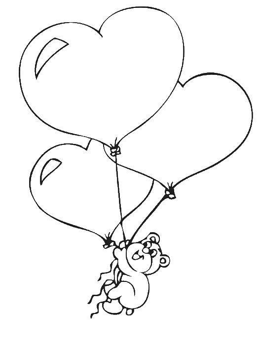 Раскраска Мишка летит на шариках-сердечках вверх Скачать День Святого Валентина, любовь, сердце, мишки.  Распечатать ,день святого валентина,
