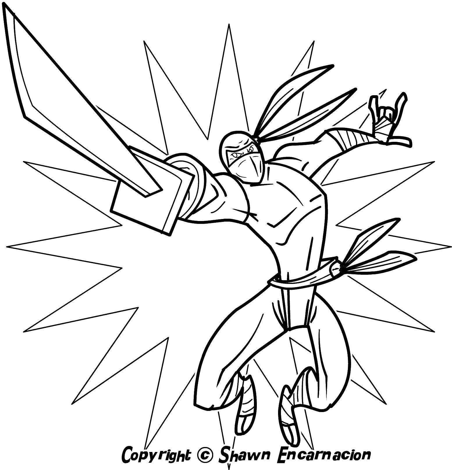 Раскраска Ниндзя с мечом Скачать ниндзя, маска, меч.  Распечатать ,ниндзя,