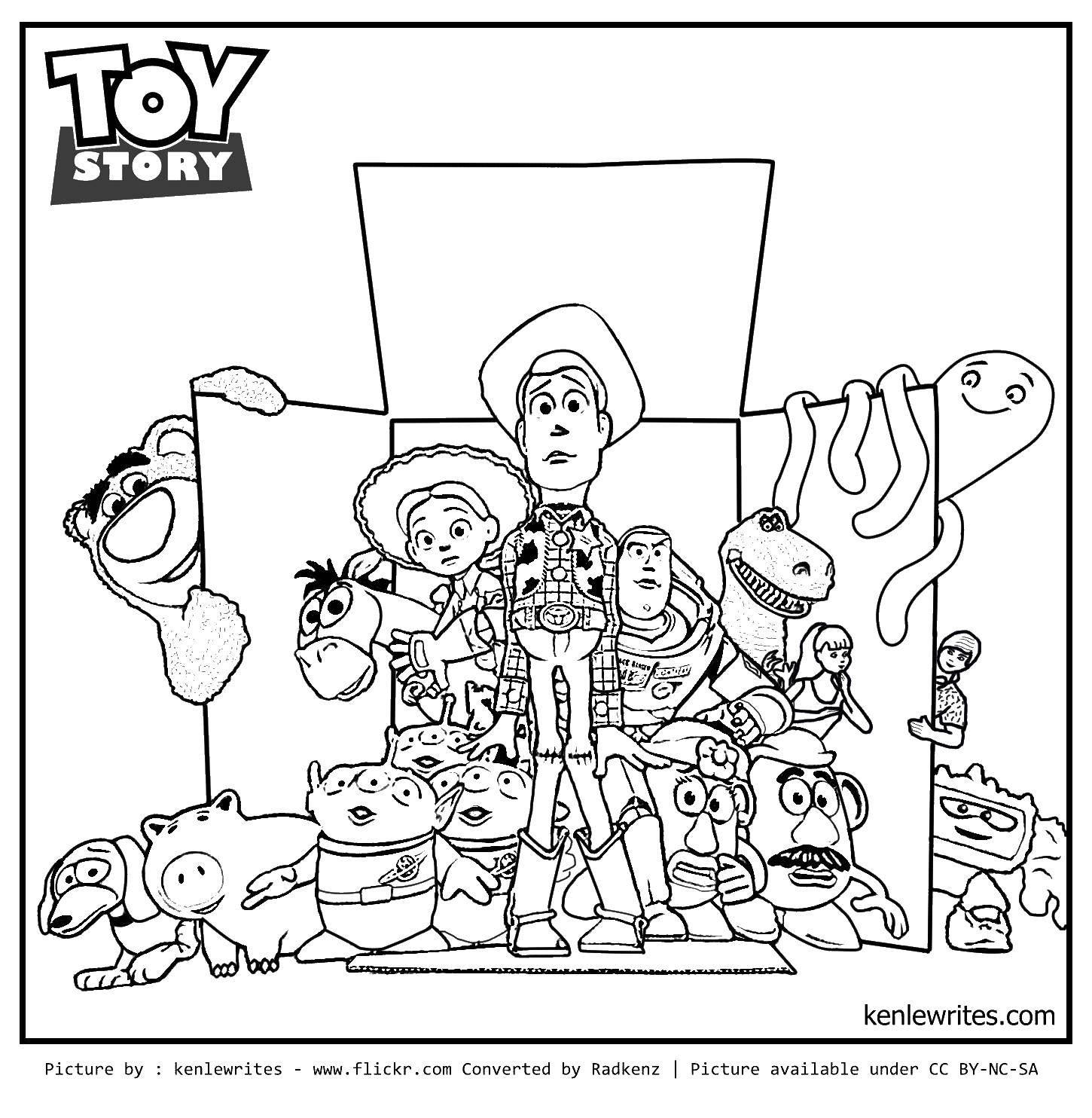 Раскраска Персонажи истории игрушек в коробке Скачать игрушки, коробка, история игрушек.  Распечатать ,история игрушек,
