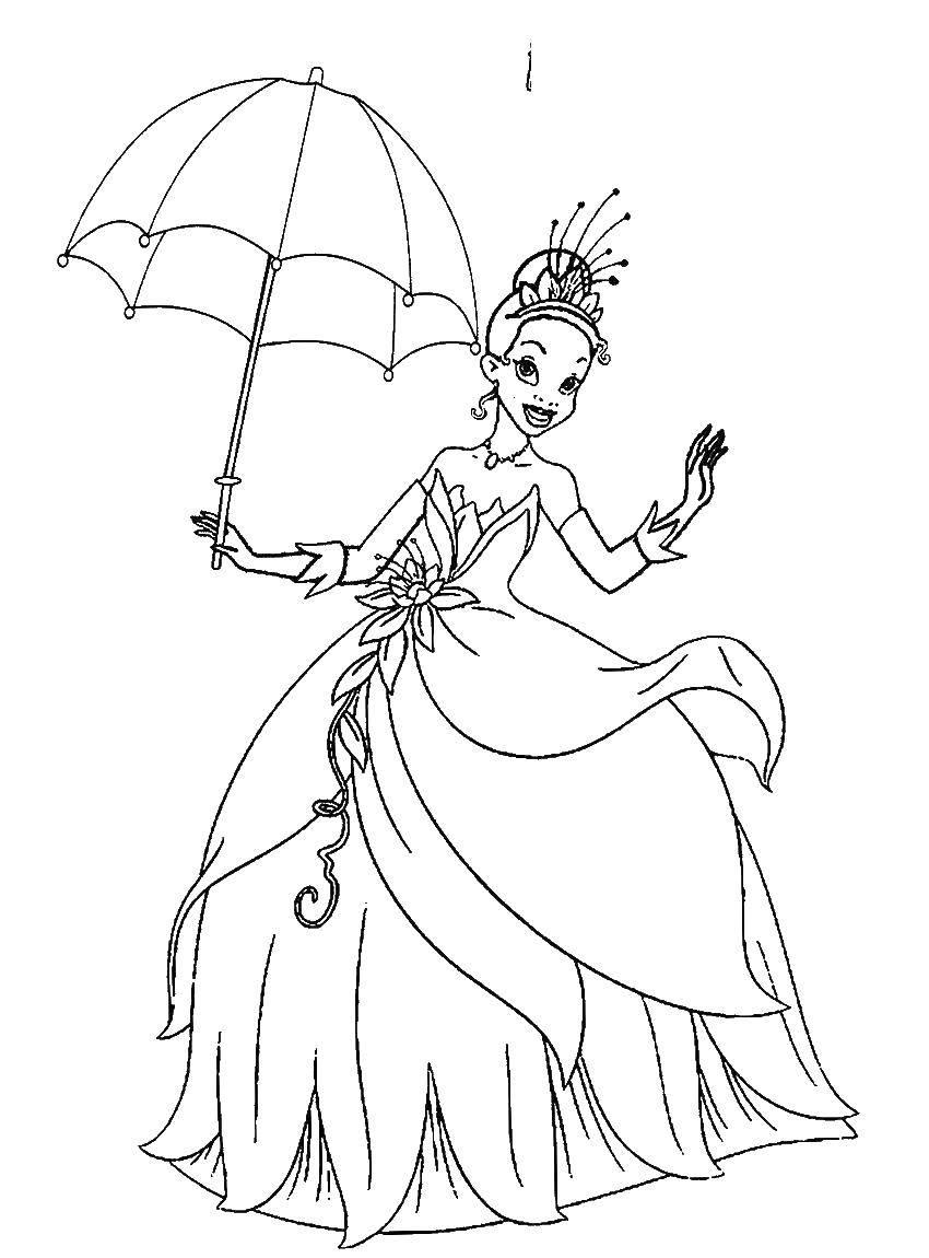 Раскраска Принцесса тиана с зонтом. Скачать принцессы, тиана.  Распечатать ,принцесса,