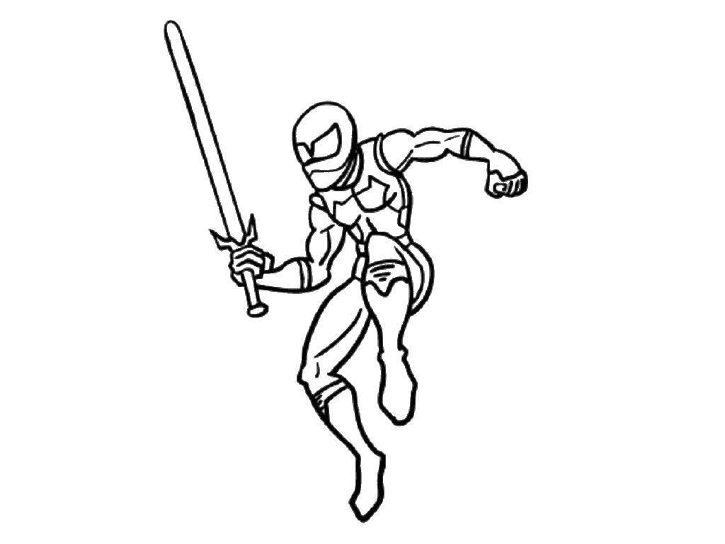 Раскраска Рейнджер с мечом Скачать рейнджер, меч.  Распечатать ,Рейнджеры,