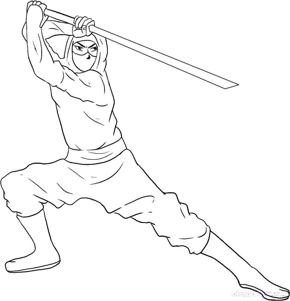 Раскраска Самурай с мечом Скачать ниндзя, маски, самураи.  Распечатать ,ниндзя,