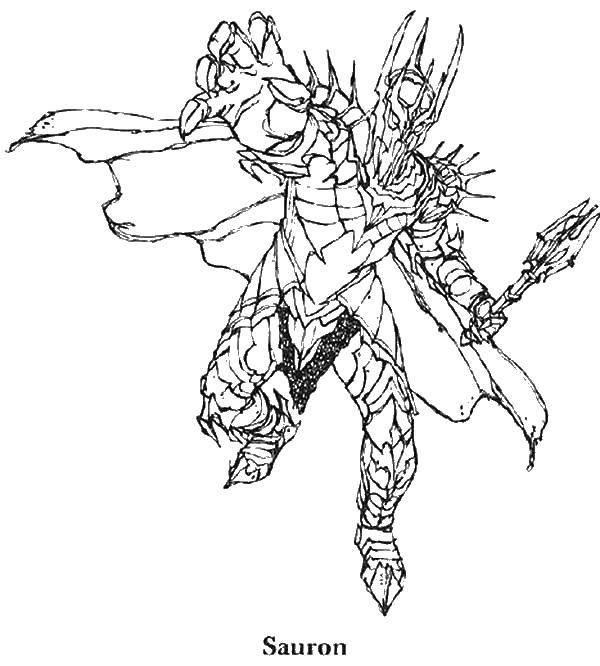 Раскраска Саурон из властелина колец Скачать саурон, властелин колец.  Распечатать ,властелин колец,