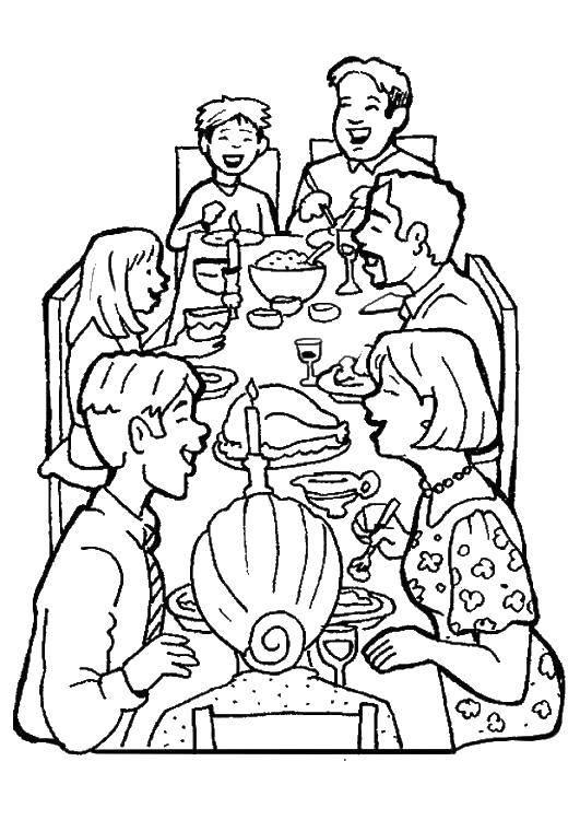 Раскраска Веселый обед Скачать Семья, родители, дети.  Распечатать ,Семья,