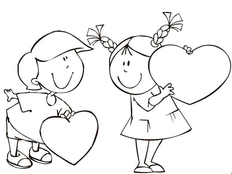 Раскраска День святого валентина Скачать Образец, цифры.  Распечатать ,По номерам,