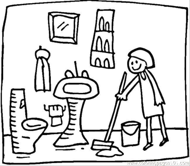 Раскраска Женщина убирается в ванной комнате Скачать швабра, унитаз, раковина, ведро.  Распечатать ,Ванная комната,