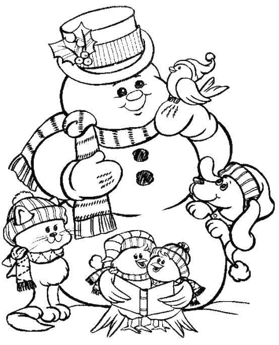 Раскраска Животные собрались у снеговика. Скачать снеговик, животные.  Распечатать ,открытки с новым годом,