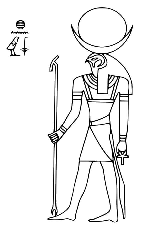 Раскраска Бог ра Скачать Египет.  Распечатать ,Египет,