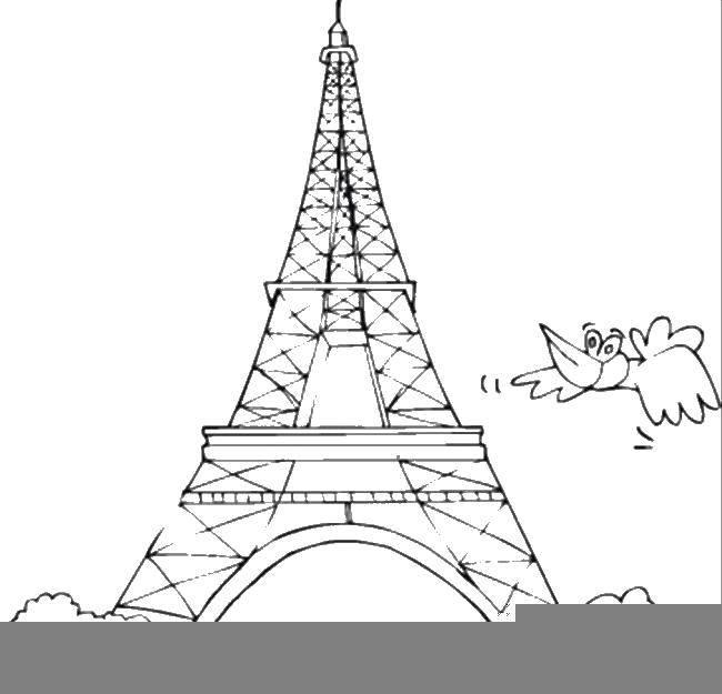 Раскраска Эйфелева башня. Скачать эйфелева башня, Франция.  Распечатать ,раскраски,