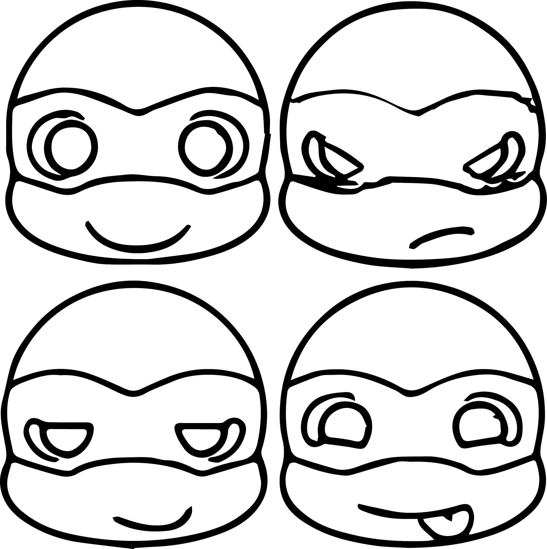 Раскраска Головы черепашек ниндзя Скачать черепашки, ниндзя, маска.  Распечатать ,ниндзя,