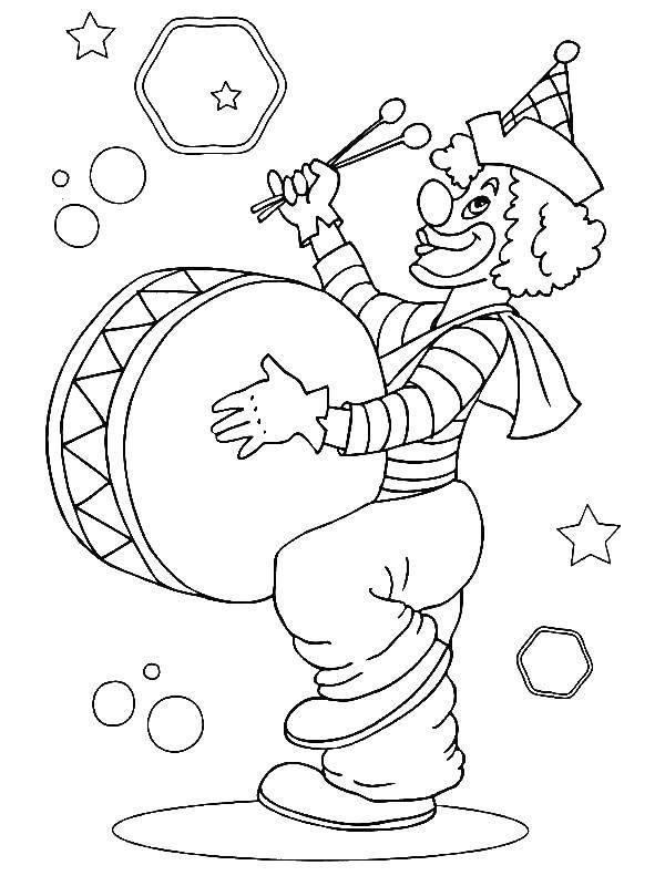 Раскраска Клоун и барабан Скачать клоун, барабан, пузыри.  Распечатать ,цирк,