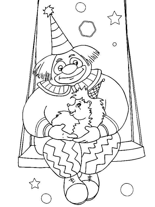 Раскраска Клоун и ежик Скачать клоун, качели, ежик.  Распечатать ,цирк,