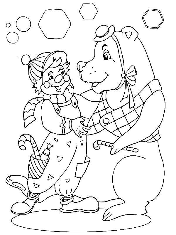 Раскраска Клоун и медведь Скачать клоун, медведь, конфеты.  Распечатать ,цирк,