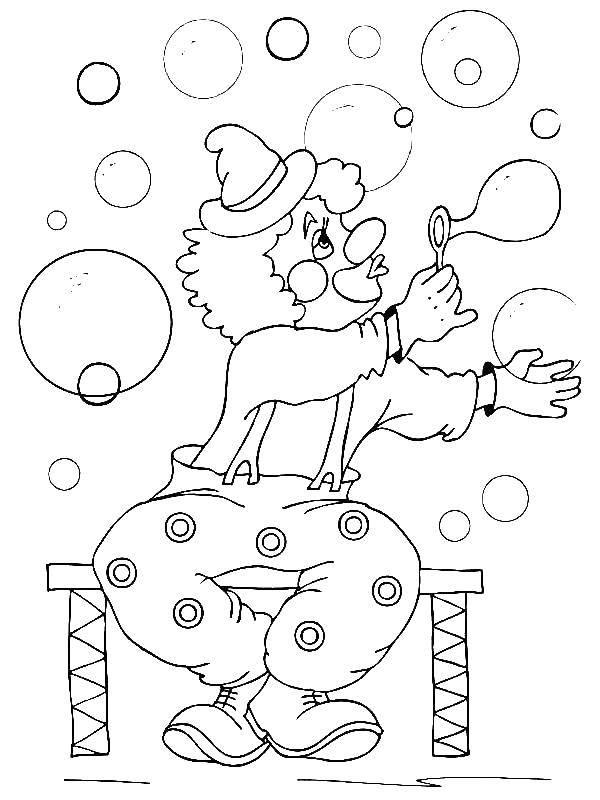 Раскраска Клоун и мыльные пузыри Скачать клоун, пузыри, штаны.  Распечатать ,цирк,