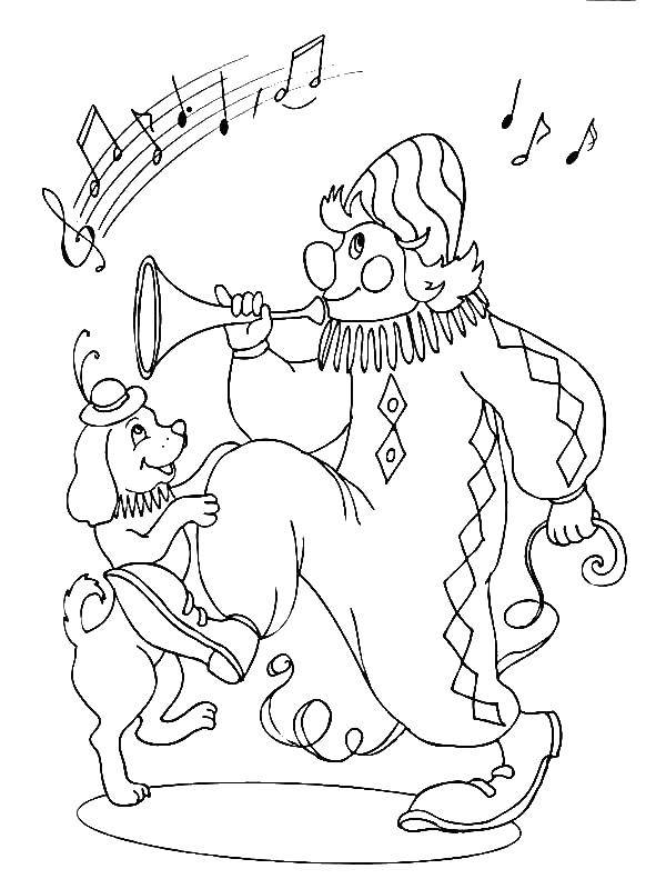 Раскраска Клоун и собака Скачать клоун, собака, дудка.  Распечатать ,цирк,