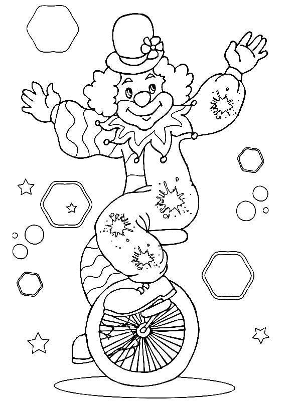 Раскраска Клоун и велосипед Скачать ,клоун, колесо, велосипед,.  Распечатать