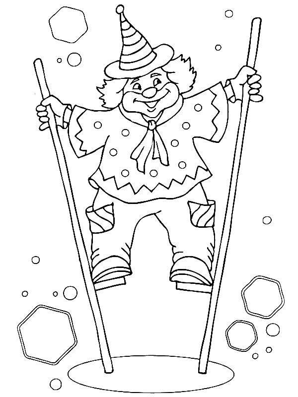 Раскраска Клоун на ходулях Скачать клоун, ходули, пузыри.  Распечатать ,цирк,