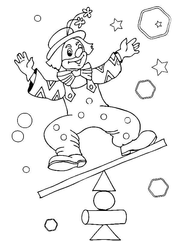 Раскраска Клоун на качели Скачать клоун, качели, весы.  Распечатать ,цирк,