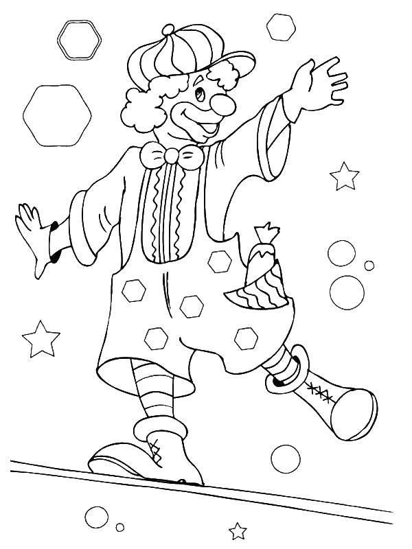 Раскраска Клоун на палке Скачать клоун, палка, звезды.  Распечатать ,цирк,