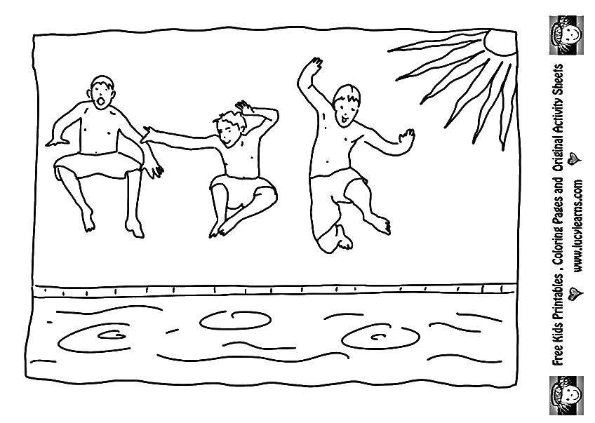 Раскраска Парни и бассейн Скачать бассейн, солнце, парни.  Распечатать ,Летние развлечения,