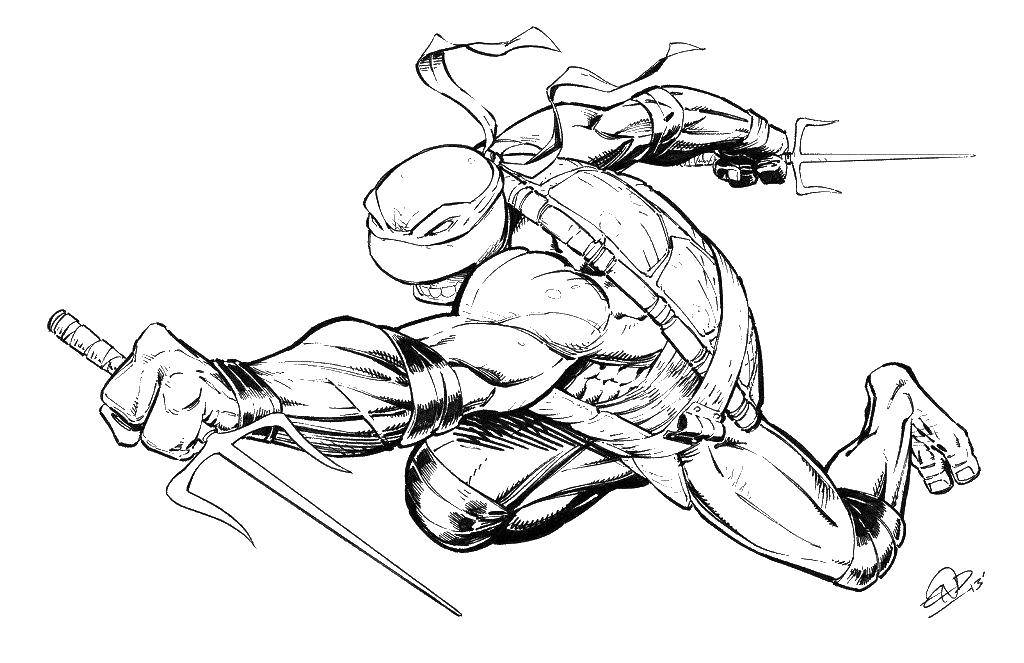 Раскраска Рафаэль с мечом Скачать рафаэль, ниндзя, черепаха.  Распечатать ,ниндзя,