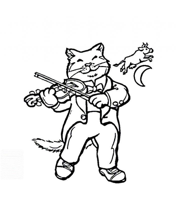 Раскраска Рисунок кот музыкант Скачать кошка, кот.  Распечатать ,домашние животные,
