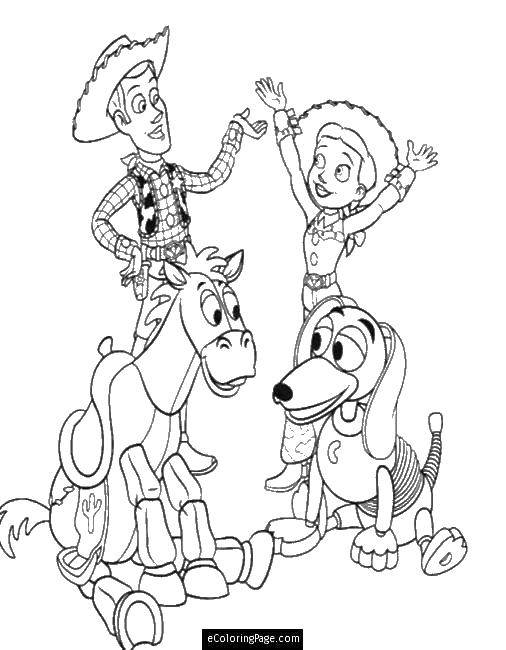 Раскраска Шериф вуди и другие игрушки Скачать Персонаж из мультфильма, История игрушек .  Распечатать ,история игрушек,