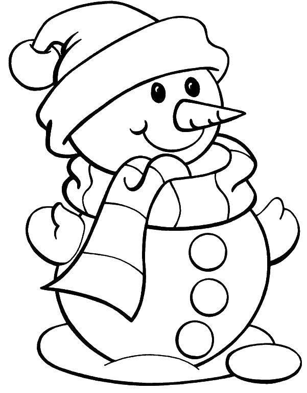 Раскраска Снеговик и шарф с шапкой. Скачать снеговик, морковка, шапка, шарф.  Распечатать ,зима,