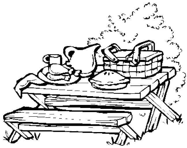 Раскраска Стол и еда для пикника Скачать пикник, дети.  Распечатать ,Еда,