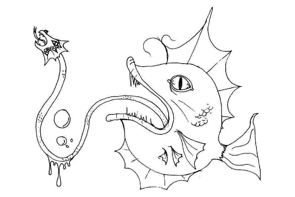 раскраски монстр раскраска страшная рыба морской монстр