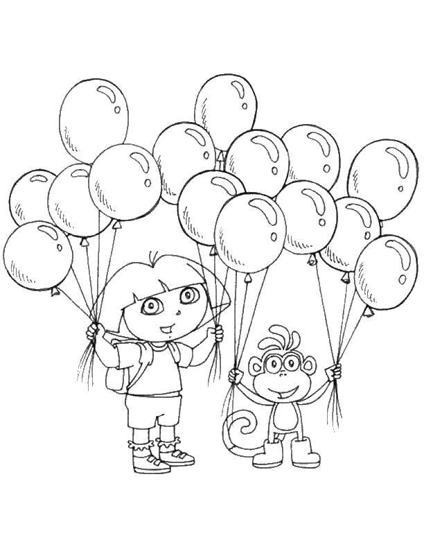 Раскраска Даша и башмачок с шариками Скачать ,Даша, Башмачок, шарики,.  Распечатать